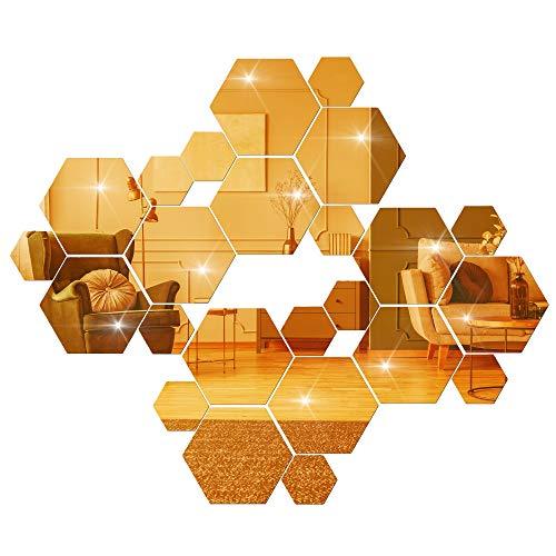 ACBungji 24 Stück Spiegel Fliesen Wandaufkleber Selbstklebend 3D Acryl Sechseckiger Wandspiegel Geometrie Design Dekoration für Wandbild Zuhause Wohnzimmer Schlafzimmer Sofa Hintergrund (Gold)