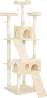 Mumoo Bear 67'' Multi-Level Cat Tree Tower, Kitten Condo House with Scratching Posts, Kitty Play Activity Center, Beige