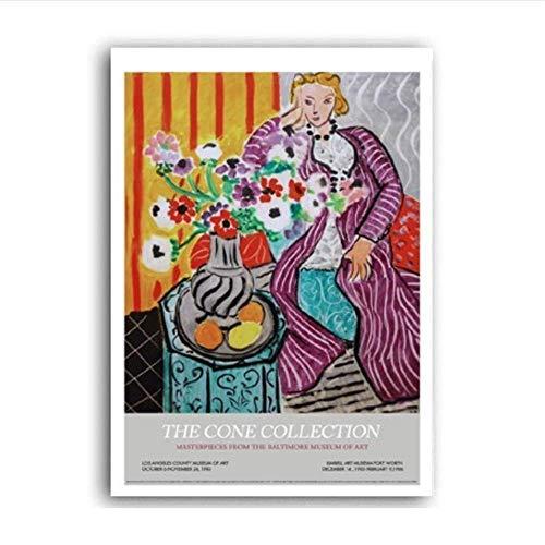 YaShengZhuangShi Vintage Abstracto Matisse Retro Line Figure Queen Óleo Lienzo Pintura Carteles e Impresiones Arte de la Pared Imágenes Sala Decoración 60x90cm Sin Marco