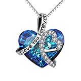 BBYaki 925 Sterling Silver Crystal Colgante Collar de Las Señoras, Te Amo para Siempre Letras en Forma de Corazón Micro Incrustado Collar JOYERÍA de Moda