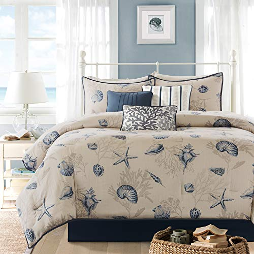 Madison Park MP10-504 Bayside Comforter Set, Queen(90'x90'), Blue