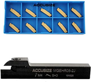 Parting Tool Mgehr10-3b of 2387-2005 with 10 Carbide Inserts for Cutting Aluminum Accusize Industrial Tools 5//8 x 5//8 Cut-Off Holder