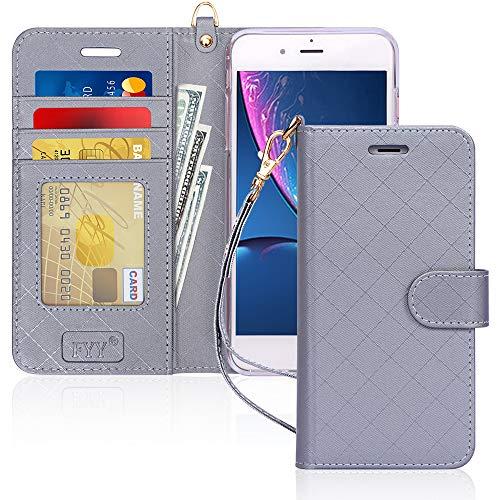 Capa de Celular FYY, Couro PU, Suporte, Compartimentos para Cartão, Compatível com Iphone 8 Plus E 7 Plus - Cinza