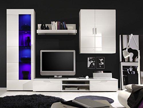 Wohnwand Shane 265x197x47cm Schrankwand Wohnzimmerschrank LED-Beleuchtung, TV-Board, Lowboard, Wandboard, weiß Hochglanz, Schwarzglas