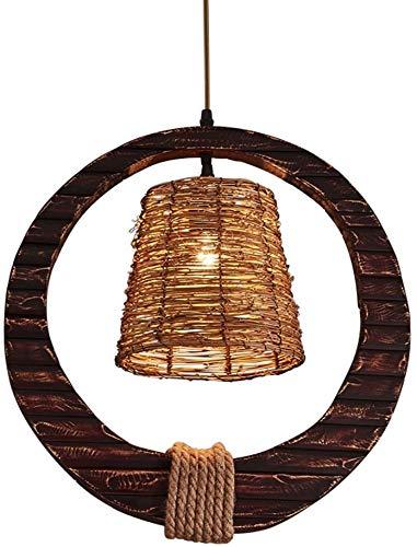 DING LAMP Arañas de América Retro de Mimbre, sillas de Viento industriales, Techo de Madera, lámpara de araña Barra Decorativa,Brown