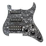 ammoon 3-ply SSH Loaded Prewired Humbucker Pickguard Pickups Set for Strat ST Electric Guitar Black Pearl