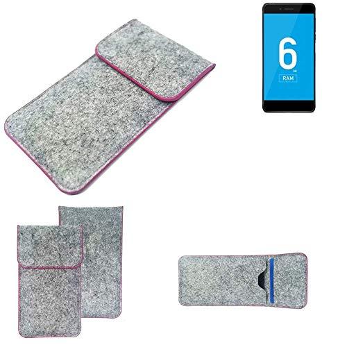 K-S-Trade Handy Schutz Hülle Für Vernee Mars Pro 4G Schutzhülle Handyhülle Filztasche Pouch Tasche Hülle Sleeve Filzhülle Hellgrau Pinker Rand