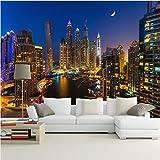 Wffmx Custom 3D Photo Wallpaper Dubai City Night View Pintura De Pared Grande Sala De Estar Sofá Tv Fondo Mural De Pared Fondo De Pantalla Creativo-140X100Cm