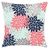 Flower Burst Petals Floral Pattern Navy Coral Mint Gray Decorative Throw Pillow Covers Square Cotton Pillowcases for Bedroom Sofa and Car 18'x18'