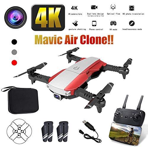 MEETGG Drone Wi-Fi Pieghevole con Controllo Vocale/Videocamera HD Grandangolare da 90 &DEG/Traiettoria Volo/Altitudine Attesa/modalitÀ Senza Tes