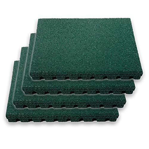 etm Pavimento Antitrauma Protettivo - Tappeto Fitness Palestra | Pavimenti in Gomma Componibili in Set da 4 Pezzi 50x50 cm ad Incastro (1 m²) - Spessore 25 mm - 4 Colori - Verde