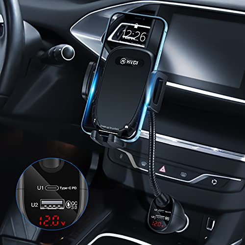 HVDI Car Cigarette Lighter Phone Mount - USB C Fast Car Charger Phone Holder,36W Power Delivery Dual Port(PD+QC3.0),Adjustable Cell Phone Cradle with Voltage Detector