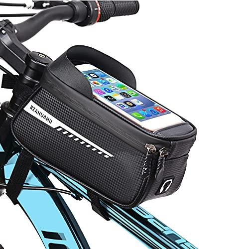 Rahmentaschen Fahrrad,Wasserdichter Oberrohrtasche Handytasche Fahrradtasche mit 6.5 Zoll TPU mit Sonnenblende Handyhalterung für Navi- und Entsperren während