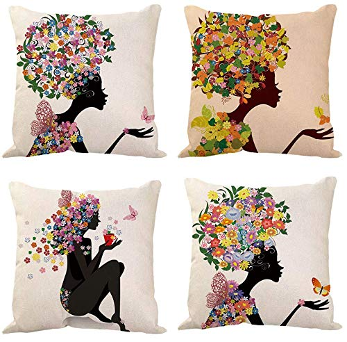 JgZATOA PillowCoversAnime Flower Girl PillowCaseCoverCushionHomeBedroomSofaCushionCoverCarDecor45X45CmSetOf4