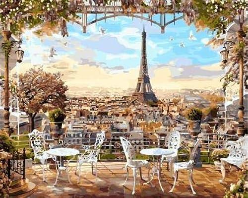 KYKDY Cafe mit Blick auf den Eiffelturm maßen nach Zahlen Landschaft F ung nach Zahlen auf Leinwand Gem e Home Decor, 40x5cm gerahmt