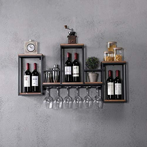 LXYPLM-WR1 Wine Rack Wine Organizer Rack Wall Mounted Metal Wine Rack with Wood Hanging Wine Bottle Champagne Shelf with Cork Storage - Home and Kitchen Décor for Bars Restaurants Kitchens (Size : B)