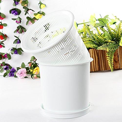 lulalula Pot de fleurs pour orchidée, 20,3 cm en plastique avec trous et maille, pot de fleurs rond pour plantes d'intérieur ou d'extérieur – Brevet de contrôle des racines