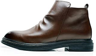 JIANFEI LIANG Men's Combat Boot Ankle Shoes Side Zipper Microfiber Leather Burnished Style Anti Slip Chic Classic Pointed Toe Wrinkle Casual (Color : Brown, Size : 48 EU)