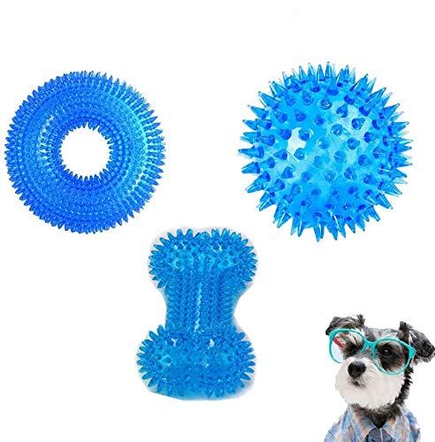 DARENYI Kauspielzeug für Hunde, mit Quietschringen, Kauball und Knochenspielzeug für kleine Hunde, 100 % sicheres Hundespielzeug für aggressive Kauer, Zahnreinigung