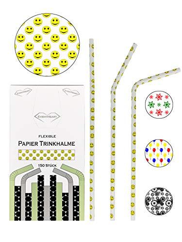 EventHeart - 150 Stück flexible Papier Trinkhalme Smiley, 24cm lang, biologisch abbaubare Strohhalme