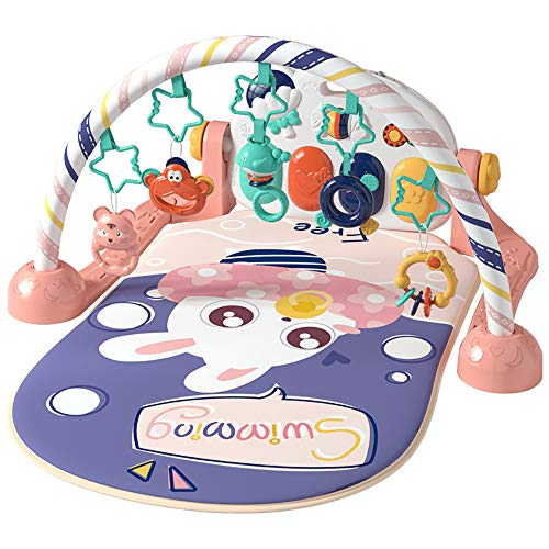 FZTX-LPX Baby Play Mat, Play Piano Gym Fitness Music Lights Fun Piano Boy Girl Fitness Rack Educación Temprana Juguete Animales Colgando Sonajero Jugar Mat Puzzle Jugar Mats