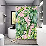 Housadora Palm Leaf Shower Curtain,Green Tropical Plant Print on Pink Shower Curtain Design,Waterproof Polyester Fabric Bathtub Curtain with 12 Hooks 71x71 inch