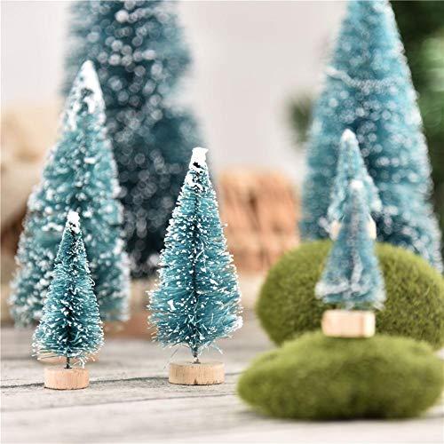 iBoosila Mini Sisal Schnee Frost Bäume Künstliche Weihnachtsbäume auf Holzbasen, Weihnachten Kleine Kiefer Party Dekorationen für DIY Basteln Raumdekoration Home Tabletop Ornamente 14-TLG