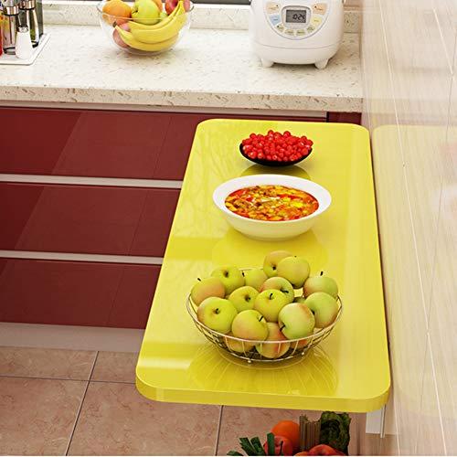 DJZZ Wandtisch Klappbar Tisch, Wandklapptisch,Küchentisch, Büro Laptop Schreibtisch, Multifunktionale Werkbank, Esstisch (Gelbes Finish)