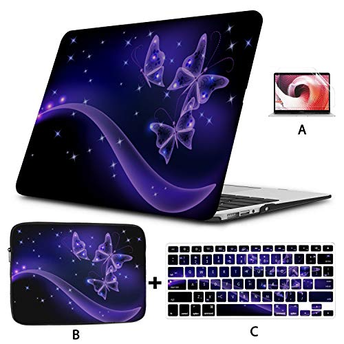 Case Macbook Pro 15 Butterflies With Glowing Firework And Sparkle Stars Macbook Pro Case 2018 Hard Shell Mac Air 11'/13' Pro 13'/15'/16' With Notebook Sleeve Bag For Macbook 2008-2020 Version