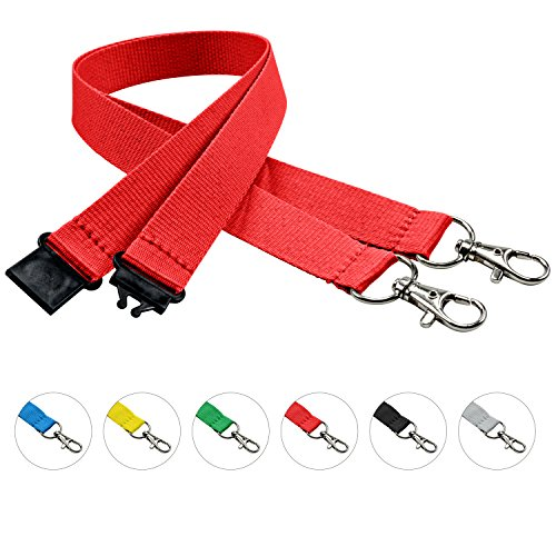 linie zwo®, 10er Pack Schlüsselbänder 20 mm, 2x easy going Haken, Sicherheitsverschluss, Rot