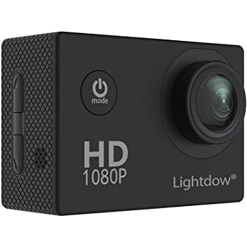 Lightdow LD4000 1080P HD Sports Action Camera Kit - 30 Meter Underwater Waterproof 1.5 Inch LCD Screen 170 Degree Wide Angle Rechargeable Battery and Mounting Accessories (Black)