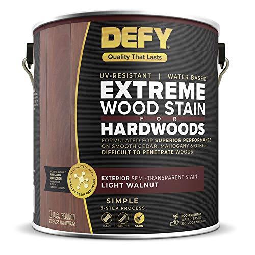 DEFY 1 Gallon Semi-Transparent Deck Stain for Hardwoods, Light Walnut