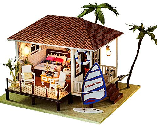Het bouwen van speelgoed DIY Cottage 3D-doe-House Kit kas met LED Light Miniature met stofomslag Dollhouse Puzzle Challenge Gift Set (Seaside House) for de mensen boven de 14 jaar.