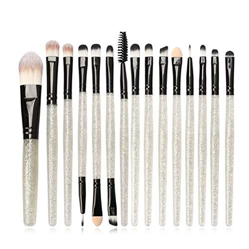 Vtrem 15Pcs Set/Kit Pinceaux Maquillages Yeux Teint Visage Maquillage Professionnel Brosse De Cosmétique Beauté Couleur De Luxe (Argent + Noir)