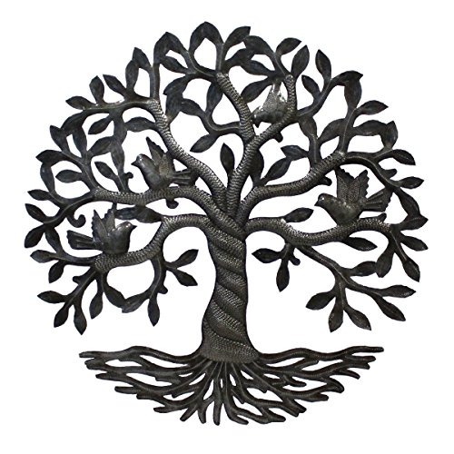 Vineworks Fair Trade Celtic Rooted Tree of Life Metal Art from Haiti 23'