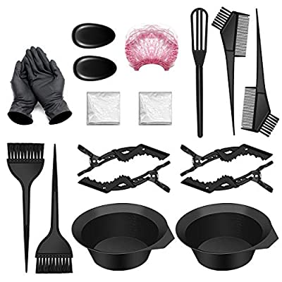 18 PCS Hair Coloring Dyeing Kit, Include Hair Tinting Bowl/Dye Brush/Mixing Spoon/Shower Cap/Ear Cover/Gloves Hair Dye Tools for Hair Coloring Bleaching DIY Salon & Home (18PCS)