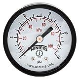 Winters PEM Series Steel Dual Scale Economy Pressure Gauge, 0-15 psi/kpa, 2' Dial Display, +/-3-2-3% Accuracy, 1/8' NPT Center Back Mount