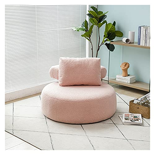 Tingting1992 sofá Perezoso Pequeño apartamento nórdico Soporte Individual Sofá Sala de Estar Dormitorio Balcón Ocio Lazy Tatami Pie Sofa Silla Sofas de Salon Modernos (Color : Pink Lamb)