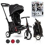 smarTrike STR5 Tricycle Pliable Enfant avec Certification Poussette pour 1,2,3 Ans - Tricycle à Plusieurs Étapes 7 en 1 (Noir et blanc)