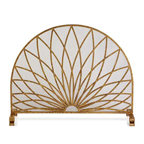 Great Price! Fireplace Screens YXX- Round Single Panel with Decor Mesh, Gold Baby Safe Proof Fire Pl...