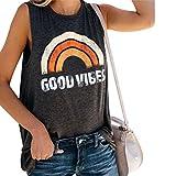 SuperCimi Womens Good Vibes Tank Tops Tees Rainbow Print Round Neck Sleeveless Basic T-Shirt,...