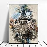 WSHIYI Estambul en Acuarela Cartel de Arte de Pared Decoración para el hogar Pintura en Lienzo Decoración de la habitación-50x70cm sin Marco