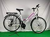 KRON 28 Zoll Damenfahrrad Mädchenrad Citybike Weiß Pink - 21 Gang Shimano + Beleuchtung nach StVo...