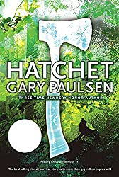 book cover for Hatchet by Gary Paulsen, forest background with wolf silhouette and a hatchet superimposed over it all; books set in Canada