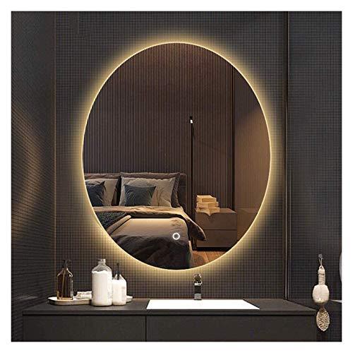 JKFZD Espejo Inteligente Ovalado para Baño, Espejo de Tocador Montado en La Pared, Espejo Plateado HD, Interruptor de Un Solo Toque + Antivaho (Color : Warm Light, Size : 60x80cm)