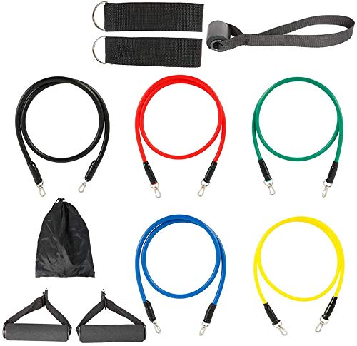 YFDD JTWEB Übung Widerstand-Bänder Set 11PCS Fitness Stretch Workout Bands mit Fitness-Tubes, Schaum-Griffe Ankle Straps Tür-Anker for Home Gym Fitness for Home Gym Fitness for Männer Frauen aijia