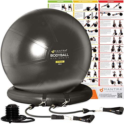 Gymnastikball, Pilates Ball, Sitzball Büro - 55cm / 65cm / 75cm Geburtsball für Schwangerschaft, Balance, Yoga & Fitness. Berstsicher Pezziball Mit Widerstandsbänder, Stabilitätsbasis, Poster & Pumpe