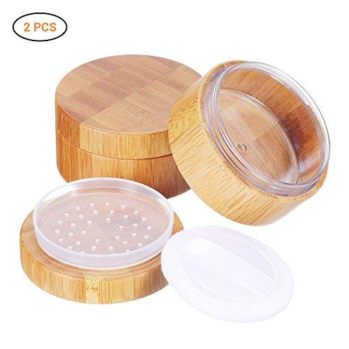 Surenhap 2 Stücke 30 ml leerer Pulverbehälter, Bambus-Kosmetik Puderdose Schutzbox mit...