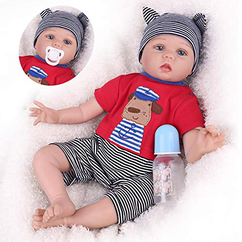 CHAREX Reborn Baby Dolls Boy, 22 Inches Reborn Baby Boy, Realistic Life Like Silicone Vinyl Handmade so Real Soft Weighted Body Baby Reborn Doll with Dog Suit for Age 3+