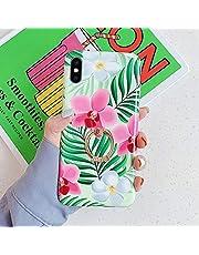 Surakey Funda para iPhone XS MAX,Ultra Fina Suave TPU Gel Carcasa [Ultra Hybrid] Diseño de Flores Caso con Anillo Anti-Choques y Anti-Arañazos Protección Carcasa para iPhone XS MAX,Flor de la Hoja